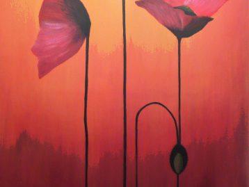 MOHN IM ABENDROT - Acrylfarben 60 x 120 cm ( verkauft )