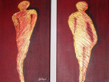 KOMMEN UND GEHEN - Acryl u. Spachtel a) 30 x 50 cm