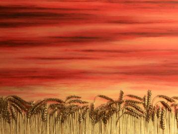 GOLDENER HERBST - Korn vergoldet - Acrylfarben 70 x 100 cm (verkauft)